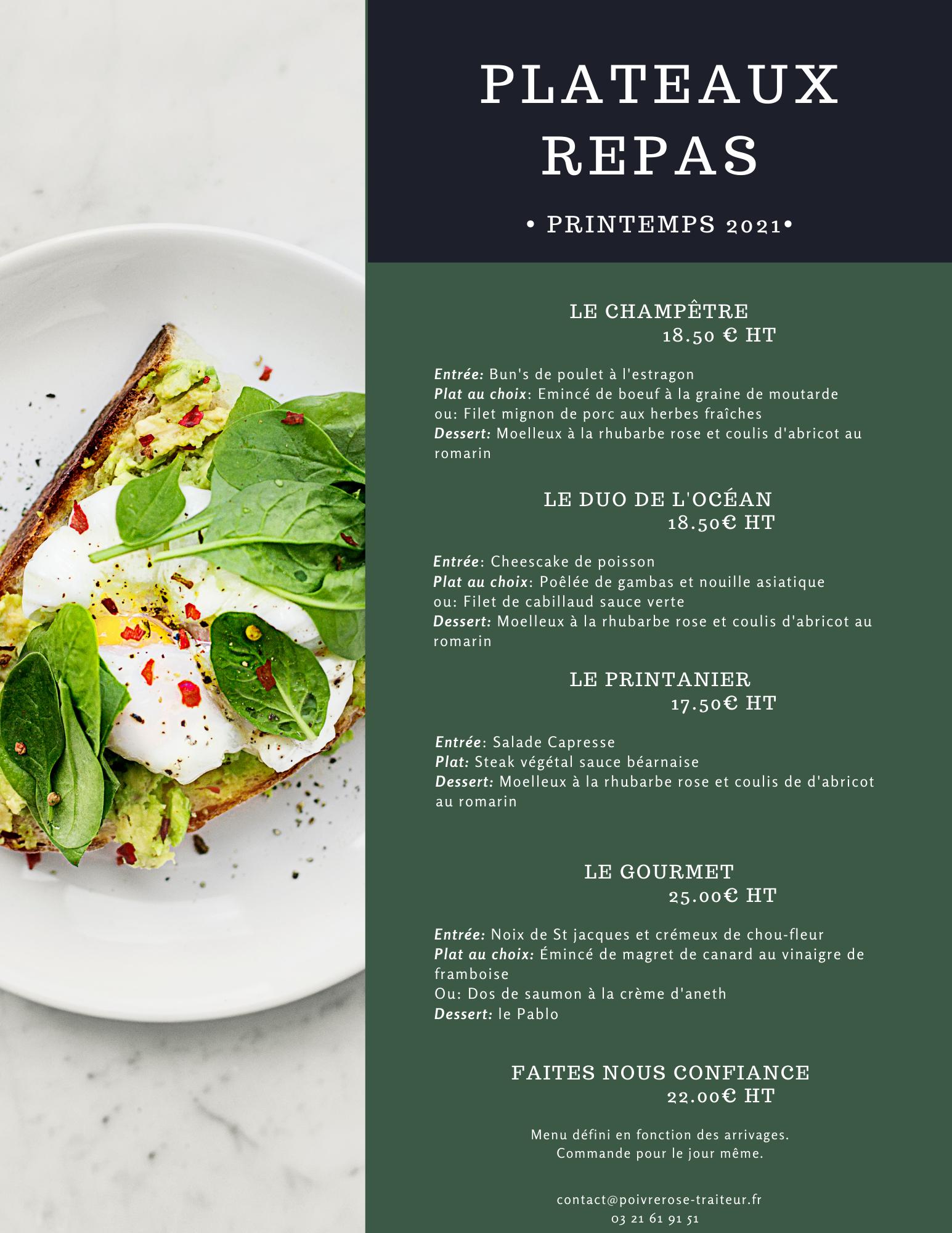 Plateaux repas saison Printemps